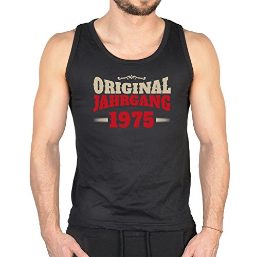 Herren Tank Top zum Geburtstag - Original Jahrgang 1975 - Trägershirt, Muskelshirt Schwarz
