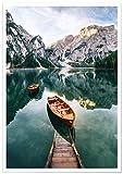 Panorama® Poster Lac de Braies Italie 70 x 50 cm | Imprimée sur Poster de Grande qualité avec Passepartout | Tableau Nature | Poster Zen Art | Moderne Art pour la Maison | Décoration Murale