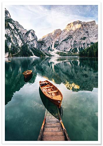 Panorama® Póster Paspartú Lago Braies Italia 100