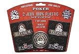 2 JEUX CARTES 100% PLASTIC POKER TITANIUM + DEALER