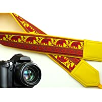 intepro Lucky Elefanten Kameragurt. Gelb Ethnic Kamera. Hell DSLR/SLR Kamera Gurt mit indischen Motiven. Robust, leichtes und gut gepolstertem Kamera Strap. Code 00036