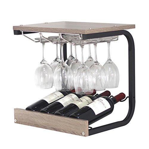 Weinregale frei stehend Boden Holz Becherhalter Flasche Wein Display Regale Kreativität modern einfach ( Farbe : Nussbaum ) (Stehendes Boden, Holz)