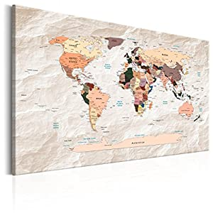 murando Tablero De Corcho & Cuadro en Lienzo 120×80 cm No Tejido XXL Estampado Memoboard Decoración De Pared Impresión Artística Fotografía Gráfica Poster Mapamundi Mapa del mundok-C-0053-p-b