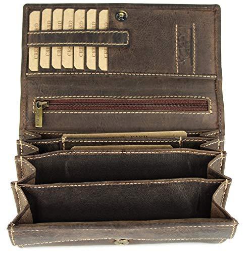 BELLI hochwertige Vintage Leder Damen Geldbörse Portemonnaie langes großes Portmonee Geldbeutel langes Portmonee aus weichem Leder in braun - 17,5x10x4cm (B x H x T)