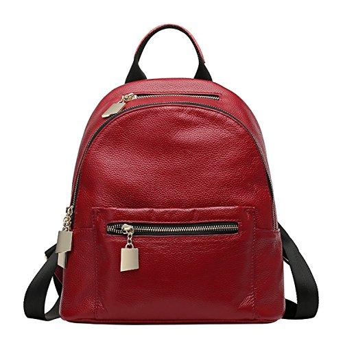 Dissa Q0794 femme Cuir hybride Sac à dos Sacs portés,27x14.5x30 L x W x H (cm) Vin rouge
