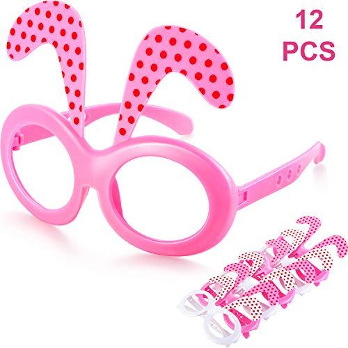 Chuangdi 12 Stück Kunststoff Osterhasen Brillen, Ostern Kostüm Brillen Anziehen Brillen ohne Linsen für Ostern Geburtstag Halloween Party Supplies (Rosa, ()