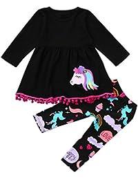 Baby Kleidung Huhu833 Regenbogen Pferd Kinder Baby Mädchen Outfits Kleidung T-shirt Top Kleid + Lange Hosen Set