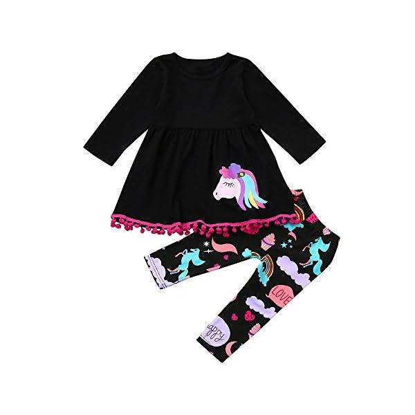Cinnamou Bebe Niña Conjunto de Camiseta Vestido Tops y Pantonla Trajes de Dos Piezas Vestidos Arcoiris Manga largas… 1