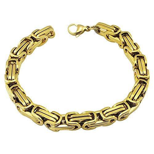 Contever® en acier inoxydable tressé Chain Bracelet Link Pour Hommes couleur d'or poli 23 cm (L) x 0.8cm (W)