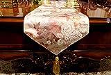 Lartum Tischläufer Hell-Lila Rechteckige Vintage Tischläufer Für Couchtisch Und Hochzeit Einzigartige Mehrfarbige Chinesischen Bestickt Floral Design Mit Quaste, 30 * 240 cm