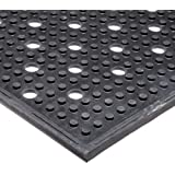 """NoTrax T23 General Purpose Rubber Multi-Mat II Safety/Anti-Fatigue Mat, for Wet or Greasy Areas, 3' Width x 2' Length x 3/8"""" Thickness, Black by NoTrax"""