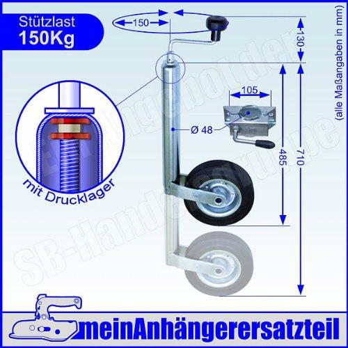 Winterhoff Stützrad mit Halter Bugrad mit Drucklager 150kg f. Pkw Anhänger + Stützradhalter