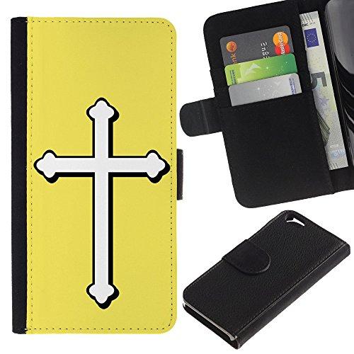 Graphic4You Kreuzr Design Brieftasche Leder Hülle Case Schutzhülle für Apple iPhone 6 / 6S (Hellblau) Gelb