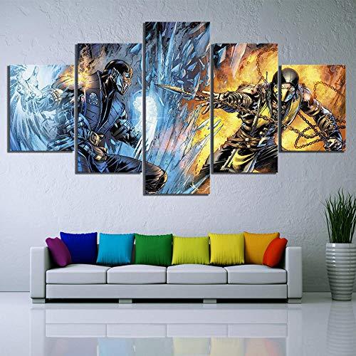 CNBHHH Leinwanddrucke Bild Wohnkultur 5 Stück Mortal Kombat Spiel Wandkunst Moderne Leinwand Hd-Druck Malerei Schlafzimmer Poster Kein Rahmen (Größe B)