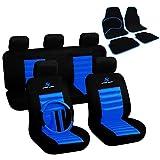 WOLTU Auto Sitzbezüge Bezug für PKW ohne Seitenairbag + Fußmatten Auto matten Set Schwarz/Blau 7264+7132