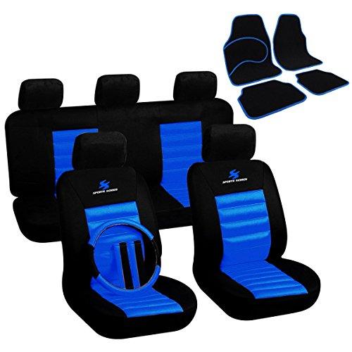 Auto Sitzbezüge Bezug + Fußmatten Auto matten Set Schwarz/Blau 7264+7132