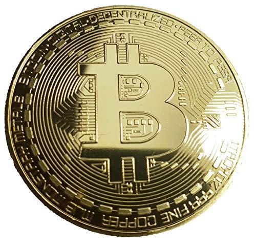 HSP Bitcoin Münze | Sammlermünze mit 24-Karat-Echtgoldüberzug, 3D-Muster und Schutzhülle
