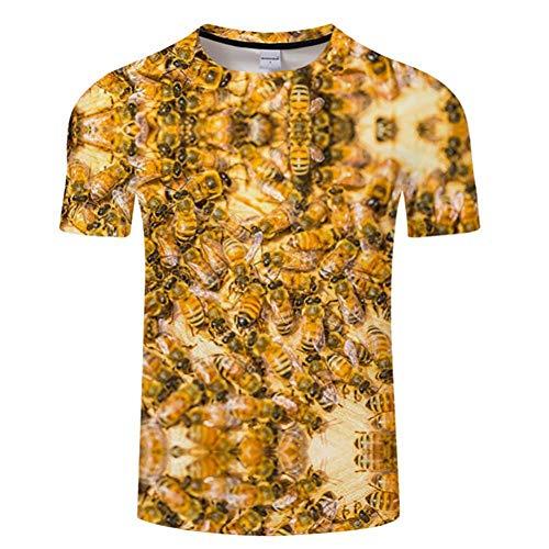 RCFRGV 3DT-Shirt Sommer 3D frisches Obst Jugend Freizeit T-Shirt für Männer und Frauen, Zitrone und Biene Print T-Shirt Herren T Shirts ModeS-6Xl (Obst Jugend)