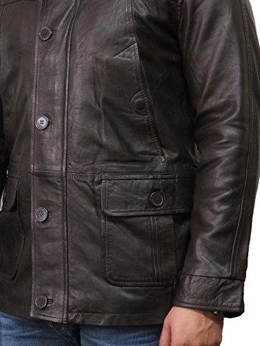 Brandslock Herren Leder Biker Jacke Vintage Lange Lederjacke Schwarz und Braun Braun