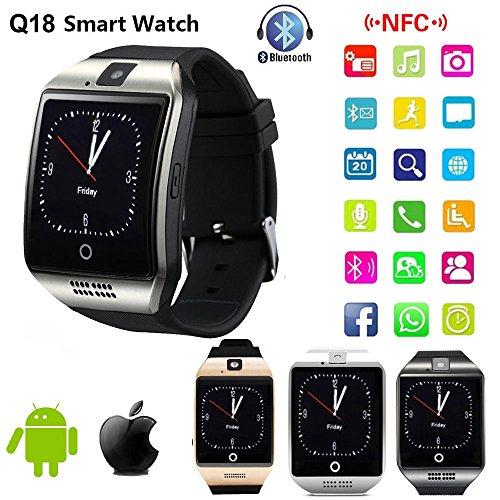 Micromax Joy X1800 Compatible Silver High quality smart calling watch with all functions of smartphones 2017 Newest Q18 Smart Watch Bluetooth Smartwatch Phone with Camera TF SIM Card Slot by JOKIN  available at amazon for Rs.2519