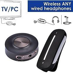Avantree Emetteur et Récepteur Audio sans Fil KIT pour TV PC pré-associé, aptX Low Latency, Bluetooth pour écouteurs filaires/Enceintes, VOIP, BT 4.2 - HT3187