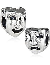 Abalorio de plata de ley 925 con diseño de máscara de teatro con dos caras,