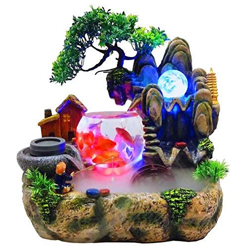 AUNMAS Zimmerbrunnen Feng Shui Wasserbrunnen Polyresin Luftbefeuchter LED Bonsai für Home Office Schreibtisch Dekoration
