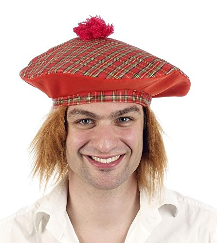6 x Schottischer Tam O Shanter Tartan Mütze mit Ingwer Haare Herren Verkleidung Erwachsene - Tam O Shanter Hut Kostüm