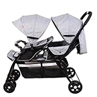 Heay Tandem Foldable Stroller, Easy Folding Baby Stroller,Double Toddler Baby Pram With Adjustable Backrest, Portable Anti-shock Carriage (Color : Gray)
