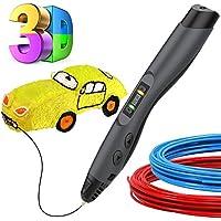 Penna 3D Bambini, Tecboss La Penna 3D con Schermo LCD, 8 Velocità 3D Pen per Bambini e Adulti, Intelligente Penna Stampa 3D Compatibile con PLA/ ABS Ricarica Penna 3d, Il Miglior Regalo fai da te Per i Bambini, Nero