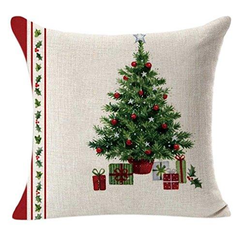 federe Cuscini,Fittingran Liquidazione! Federe di Natale, Calze Natalizie Copricuscino Quadrato Federa Stampa Regalo di Natale (A)