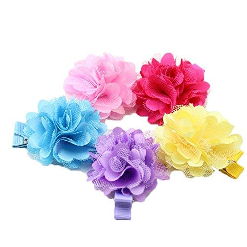 5Pièces/Pinze-Set per capelli con fiori con nastro e vela Clip per capelli, per bambina, Barettes bambina