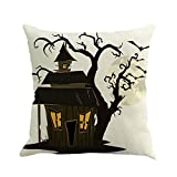ALIKEEY Kissenbezug Halloween Kürbis Schloss Leinen Happy Halloween Leinen Sofa Home Decor der für Sofa, Stuhl, Auto, Bett, Etc. benutzt Werden kann45 x 45cm