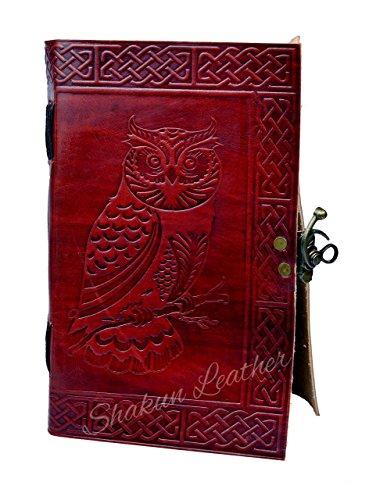 Shakun Leather Tagebuch, Reise- und Notizbuch, Prägedruck mit Eule, Koptische Bindung und Vintage Messingschloss