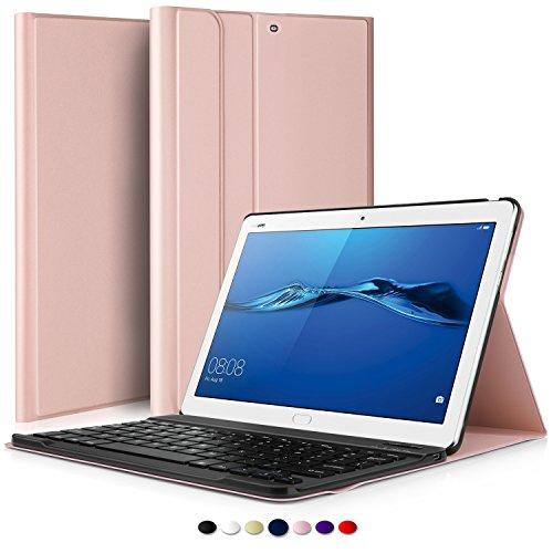 IVSO Huawei MediaPad M3 Lite 10 QWERTY Bluetooth Tastiera Portfolio - Detachable Bluetooth Copertura della Tastiera per Huawei MediaPad M3 Lite 10 Tablet, Oro Rosa