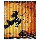 "Happy Halloween People Flying On Moon Bathroon Waterproof Cool Shower Curtain Family Choice 60""(w) x 72""(h)"