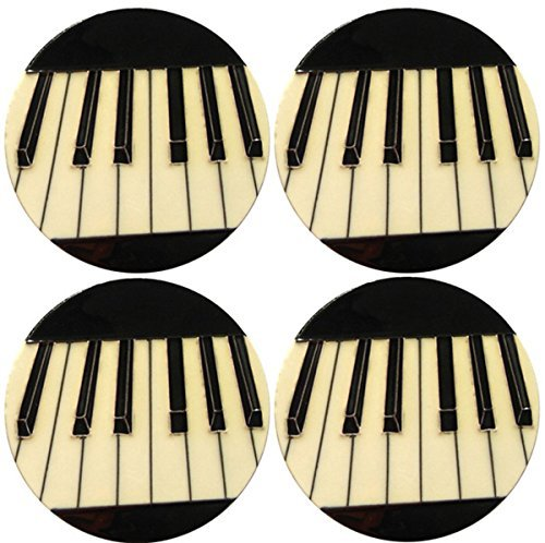 Set Ceramic Tile (Set of 4 Piano Decorative Ceramic Coasters. by Fiesta Studios)