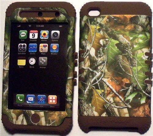 Generic Camo, Blätter-Motiv, Braun, Silikon, für Apple ipod Touch 4 g/4 (Hybrid, 2-in - 1 Gummierte Schutzhülle