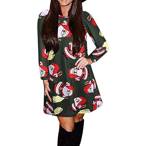 GillBerry Mujeres Fiesta De Navidad Del MuñEco De Impresión De Vestido De Oscilación