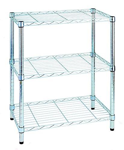 Archimede sistema componibile, scaffale tre ripiani, grigio (cromato), 35 x 60 x 75 cm