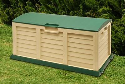 **XXL** Auflagenbox / Gartenbox / Kissenbox beige/grün ca. 141,5 x 61,5 x 68 cm