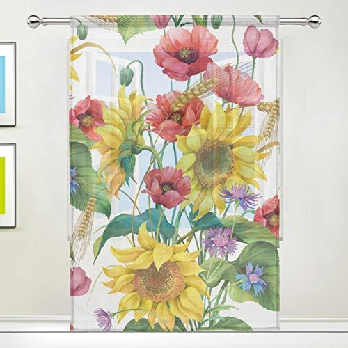QMIN Vorhang mit Sonnenblumen-Blumen-Mohnblumen-Fenster-Tüll-Voile-Vorhang für Tür, Wand, Schlafzimmer, Wohnzimmer, Küche, 139,7 x 213,4 cm, 1 Paneel (Teen-schlafzimmer-vorhänge Für Mädchen)