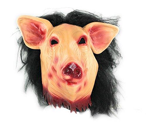 CENO Halloween Maske Horror Schwein, Vollkopfmaske aus Latex -