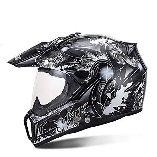 QRY Racing Off-Road-Helm Persönlichkeit Graffiti-Muster Herren Full Cover Open Face Helm Outdoor Sports Motorrad Reiten Full Face Helm Vier Jahreszeiten Glückliches Leben (Farbe : White, Size : M)