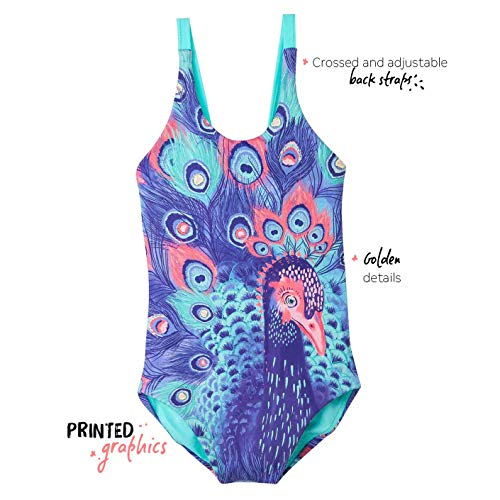 4accd073a6 OFFCORSS Big Girls Cute Colorful One Piece Bathing Suit Vestido de Baño  Niñas Purple 8