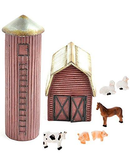 Li DIY–Miniatur Garten Kit–Farm Set mit Scheune, Silo und 6-Teiliges Mini Farm Tiere für GNOME, Troll Oder Fairy Garden ()