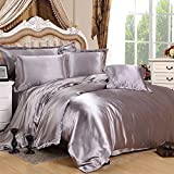 7 Piece Satin Bedding Sets Silver Double Bed Size Duvet Cover , Fitted Sheet , Cushion Cover , Pillow cases Set By Viceroybedding