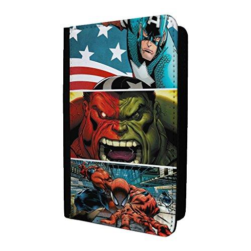 (Marvel Superheld Comic Book Passport Halter Schutzhülle–Captain America Hulk Spiderman–s-g888)
