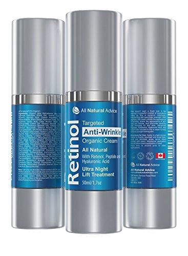 Retinol straffende Anti-Aging Nachtcreme mit Hyaluronsäure 50 ml | Peptide | Vitamin E + Vitamin B5...