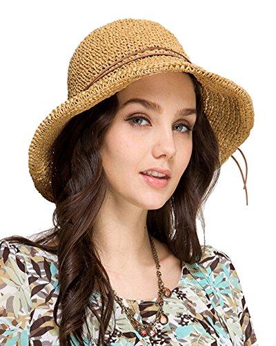 Damen-hüte Strand (Urbancoco Damen klappbare Kappe flexible Sommer Strand Sonne Hüte (Hellbraun))